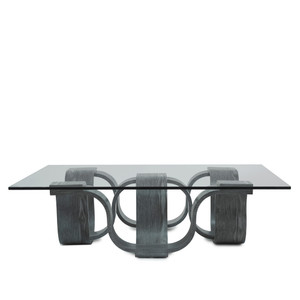 As Shown: Luzon Square Cocktail Table Size: 45 x 45 x 12.5 H inches Material: Grey Chestnut Veneer, Glass