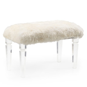 As Shown: Crawford Faux Fur Bench Size: 32 x 16 x 19 H inches Material: Acrylic, Faux Fur