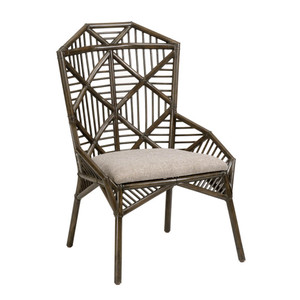 As Shown: Arden Side Chair Size: 27 x 27 x 40.5 H inches, 18.5 inches seat height Material: Rattan in Mocha