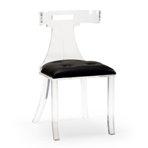 As Shown: Elsa Acrylic Side Chair Size: 19 x 16 x 34 H inches Material: Acrylic with Leather Seat