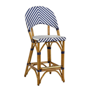 As Shown: Bedford Counter Stool Size: 18 x 21 x 39 H inches, 24 inches seat height Material: Rattan with Blue & White Woven Vinyl Seat & Back