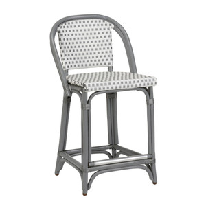 As Shown: Beaumont Counter Stool Size: 19 x 21 x 36 H inches, 24 inches seat height Material: Rattan with Grey & White Woven Vinyl Seat & Back
