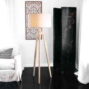 As Shown: Touba Tripod Floor Lamp Size:  21 dia x 60 H inches Material: Frake wood with a linen shade