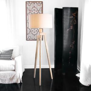Touba Tripod Floor Lamp 21 dia x 60 H inches Frake wood, Linen Shade