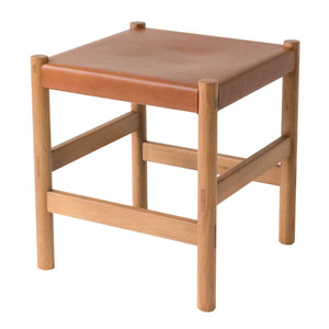 As Shown: Juniper Stool  Size: 16 x 16 x  17.5 H inches Material: Solid White Oak with Umber Leather