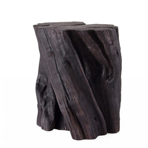 As Shown: Juno Grande Log Table Size: 12 - 16 diameter x 20 H inches Finish: Espresso Topcoat: Sealed Topcoat