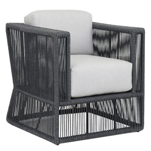 As Shown: Milano Outdoor Club Chair Size: 36 x 35 x 28 H inches, 18 inches seat height Materials: Powdercoated aluminum frame with woven acrylic rope