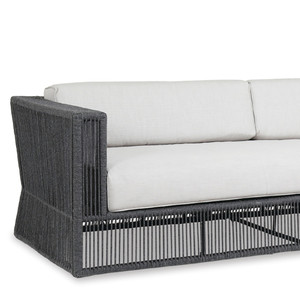 As Shown: Contemporary Milano Outdoor Sofa Size: 91 x 35 x 28 H inches, 18 inches seat height Materials: Powder coated aluminum frame with woven acrylic rope