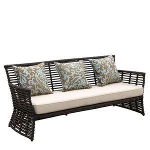 As Shown: Venice Outdoor Sofa Size: 77 x 29 x 34 H inches, 19 inches seat height Materials: Powdercoated aluminum frame with rich chocolate resin weave