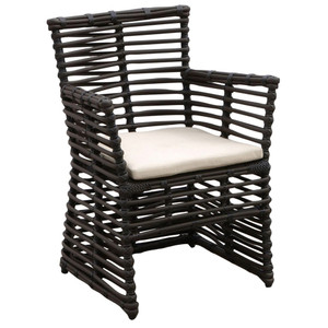 As Shown: Venice Outdoor Dining Chair Size: 25 x 23 x 34 H inches, 19 inches seat height Materials: Powdercoated aluminum frame with rich chocolate resin weave