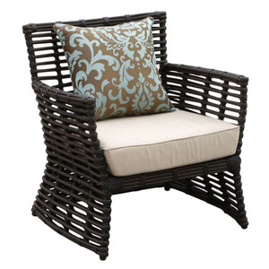 As Shown: Venice Outdoor Arm Chair Size: 31 x 29 x 34 H inches, 19 inches seat height Materials: Powdercoated aluminum frame with rich chocolate resin weave