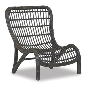 As Shown: Venice Outdoor Side Chair Size: 32 x 33 x 37 H inches Materials: Powdercoated aluminum frame with rich chocolate resin weave