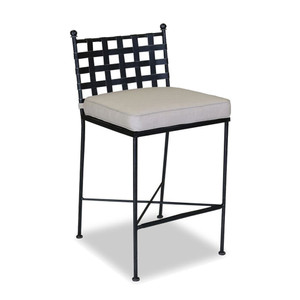 As Shown: Provence Metal Outdoor Barstool Size: 20 x 19 x 44 H inches, 32 inches seat height Materials: Wrought Iron with pewter finish