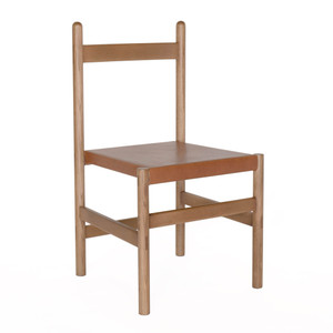 As Shown: Juniper Chair Size: 19 x 19 x  34 H inches Material: Solid White Oak with Umber Leather