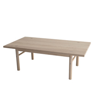 As Shown: Yuba Coffee Table Size: 42 x 22 x 14 H inches Material: Solid White Oak with Natural Finish