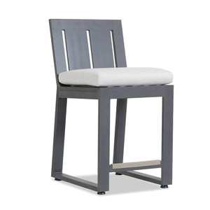 As Shown: Redondo Outdoor Bar Stool Size: 20 x 24 x 41 H inches, 26 inches seat height Materials: Powder coated aluminum frame
