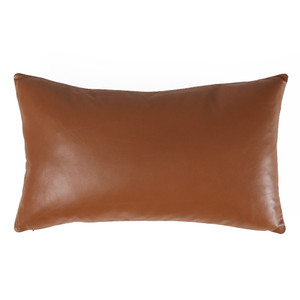 As Shown: British Tan Leather Pillow Size: 12 x 20  inches Material: Leather  Color: British Tan