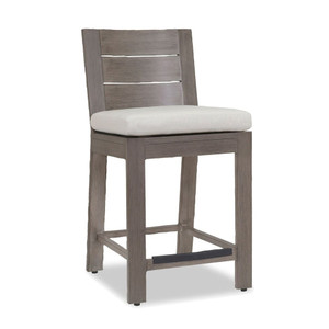 As Shown: Laguna Outdoor Counter Stool Size: 20 x 23 x 40 H inches, 25 inches seat height Materials: Aluminum