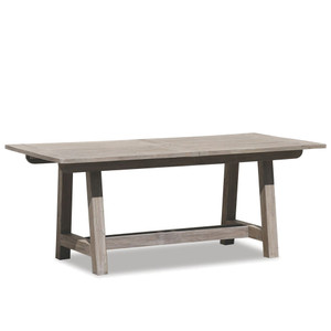 As Shown: Outdoor Teak Table Size: 39 x 79 x 29 H inches Materials: Solid teak