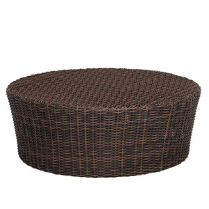 Montecito Round Outdoor Coffee Table Size: 48 diameter x 20 H inches Materials: Powder coated aluminum frame with rich cognac resin weave