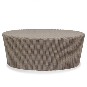 As Shown: Coronado Outdoor Coffee Table Size: 48 diameter x 20 H inches Materials: Powder coated aluminum frame with driftwood resin weave