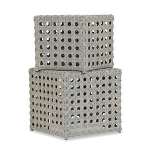 As Shown: Long Beach Outdoor Nesting Cubes Size: 19 x 19 x 19 H inches,  22 x 22 x 22 H inches  Materials: Powder coated aluminum frame with resin weave