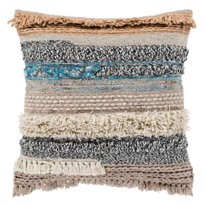 As Shown: Coronado Beachy Pillow - GZA-001 Size: 18 x 18 inches Material: Wool & Cotton Color: Multicolor