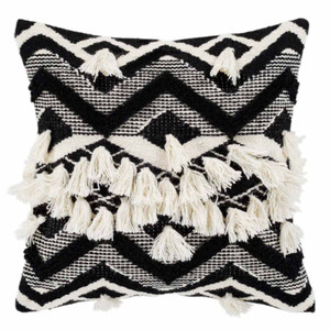 As Shown: Fringed Gazah Pillow - GZA-002 Size: 18 x 18 inches Material: Wool & Cotton Color: Multicolor