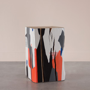 As Shown: Hand Painted Cube Table Size: 15 x 15 x 24 H inches Color: Multi Topcoat: Sealed