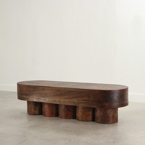 As Shown: Colonnade Bench Table Size: 21.5 x 66 x 18 H inches Finish: Dark Walnut Topcoat: Oiled Topcoat