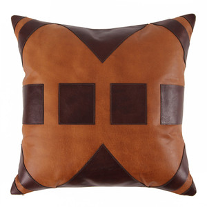 As Shown: Mérida Pillow Size: 20 x 20 inches Material: Leather Color: Saddle Brown with Espresso Brown