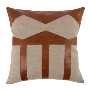 As Shown: Taxco Pillow Size: 20 x 20 inches Material: Linen and Leather Color: Natural, Saddle Brown