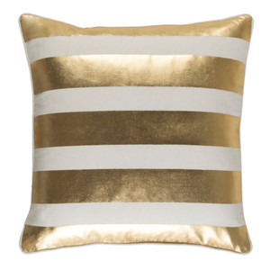 As Shown: Glyph Pillow Size: 18 x 18 inches Material: Cotton Color: Gold and White