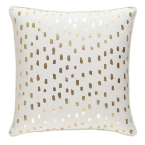 As Shown: Glyph Dotted Pillow Size: 18 x 18 inches Material: Cotton Color: Gold and White