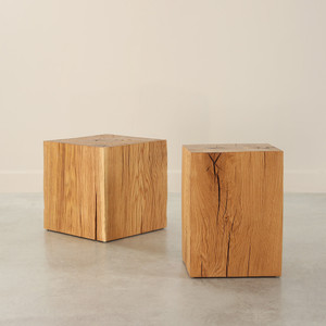 Putnam Oak Cube Table 15 x 13 x 20 H inches and 18 x 18 x 18 H inches Oiled Finish