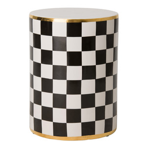 Torino Checker Garden Stool 13 dia x 18.5 H inches Ceramic
