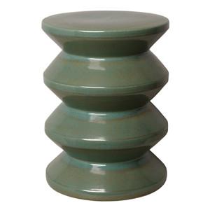 Accordion Ceramic Stool Table 13 dia x 18 H inches Ceramic Green