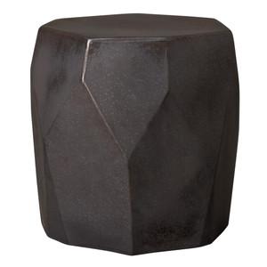 Facet Ceramic Stool Table 17 x 17 x 18 H inches Ceramic Gunmetal