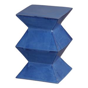 Zigzag Garden Stool 12 x 12 x 18 H inches Ceramic Blue