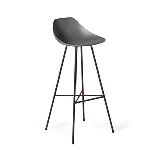 As Shown: Get the Scoop Barstool Size: 17 x 17 x 38.5 H inches (32 inch seat height) Material: Concrete  Description: Perfectly contoured, this bar stool's sculpted seat perches invitingly atop rebar-textured oxidized iron legs. Hop up for a French Soda from your teak cabana bar, or a crème glacée at your slate kitchen counter. Made by hand, concrete is blended with sand and fiberglass to create a lightweight and durable material. Finished with a waterproof sealer, it is suitable for interior or exterior use.