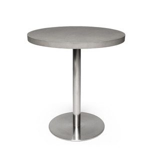 As Shown: Marceau Bistro Table Size: 27.5 dia x 29.5 H inches Material: Concrete, Stainless Steel  Description: For enjoying a croissant in the breakfast nook, the pure elegance of this round bistro table provides a chic spot to watch the world go by your own sidewalk café. Made by hand, concrete is blended with sand and fiberglass to create a lightweight and durable material. Finished with a waterproof sealer, it is suitable for interior or exterior use.