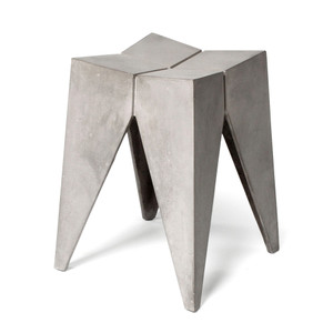 As Shown: Bridge Stool Size: 10.75 x 10.75 x 17.75 H inches Material: Concrete  Description: This petite stool's elegant geometry fits in anywhere you want a striking piece in a cool material. Made by hand, concrete is blended with sand and fiberglass to create a lightweight and durable material. Finished with a waterproof sealer, it is suitable for interior or exterior use.
