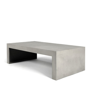 As Shown: Strong Coffee Concrete Table Size: 51 x 28 x 15.75 H inches Material: Concrete  Description: In the living room or on the patio, this table is steadfastly at your service from cocktails and crudités to coffee and confections. Made by hand, concrete is blended with sand and fiberglass to create a lightweight and durable material. Finished with a waterproof sealer, it is suitable for interior or exterior use.