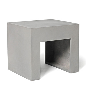 As Shown: Back to Basics Concrete Stool Size: 18 x 15.75 x 15.75 H inches Material: Concrete  Description: This handsome little piece is a perfect seat or table from the terrace to the bathroom and everywhere in between. Made by hand, concrete is blended with sand and fiberglass to create a lightweight and durable material. Finished with a waterproof sealer, it is suitable for interior or exterior use.