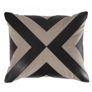 As Shown: Diverge Pillow Size: 17 x 20 inches Material: Linen and Leather Color: Natural and Black
