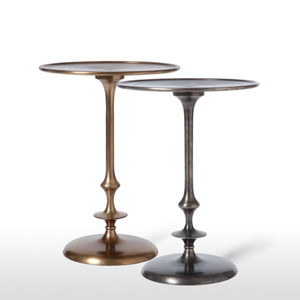 As Shown: Contemporary Pedestal Side Table Size: 16 diameter x 21.5 H inches Material: Plated Aluminum Finish: Antique Brass, Pewter  Description: You'll love the sleek elegance of this contemporary pedestal side table in brass patina or pewter finish in a living space, office or hallway. The distinctive, chic spindle adds interest as it supports the circular, lipped-edge top.