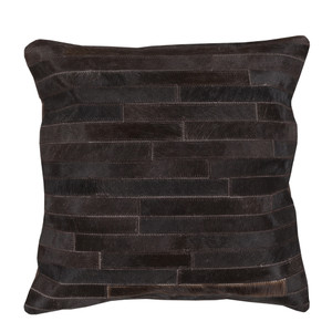 As Shown: River Oaks Cowhide Pillow - TR-005 Size: 18 x 18 inches Material: Hair-On Cowhide  Description: Shades of espresso brown layer in for rich, textured depth. By hand artisans seam strips of hair-on cowhide then back in fabric with a feather and down inner. Each pillow is individual to you, please allow for variation in color and markings.