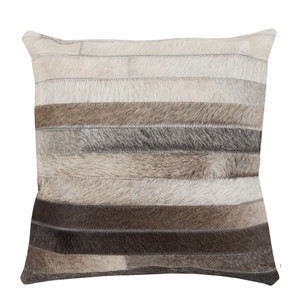 As Shown: Big Sky Hide Pillow - TR-002 Size: 18 x 18 inches Material: Hair-On Cowhide  Description: Light and dark stripes in shades of black, brown and neutral align for streamlined elegance. By hand artisans seam rows of hair-on cowhide then back in fabric with a feather and down inner. Each pillow is individual to you, please allow for variation in color and markings. We love grouping it with our Canyon and Tycoon Cowhide Pillows Cool Multi for layered, textural impact.