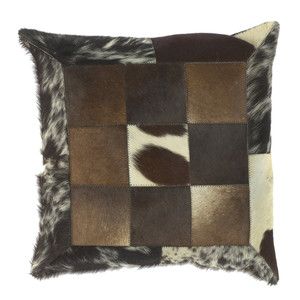 As Shown: Oil Tycoon Cowhide Pillow - PMH-119 Size: 18 x 18 inches Material: Hair-On Cowhide  Description: Various shades of black, brown and off-white border a grouping of squares in this textured, striking piece. By hand artisans seam squares of hair-on cowhide then back in fabric with a feather and down inner. Each pillow is individual to you, please allow for variation in color and markings.