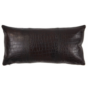 As Shown: Outback Crocodile Pillow Size: 9 x 18 inches Material: Leather Color: Espresso Brown